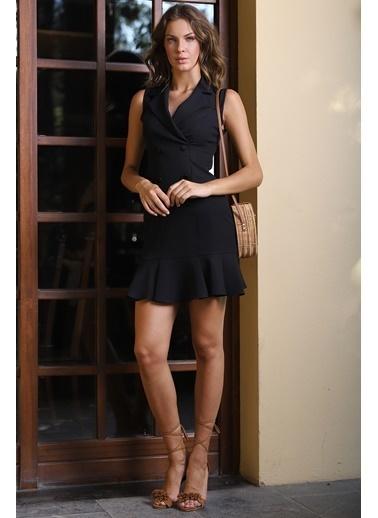 İroni Kolsuz Blazer Elbise Siyah
